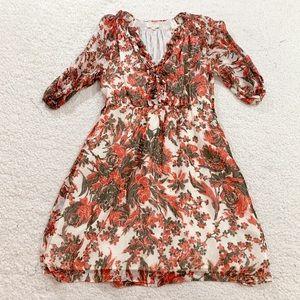 Shoshanna gauzy floral rose print v neck dress
